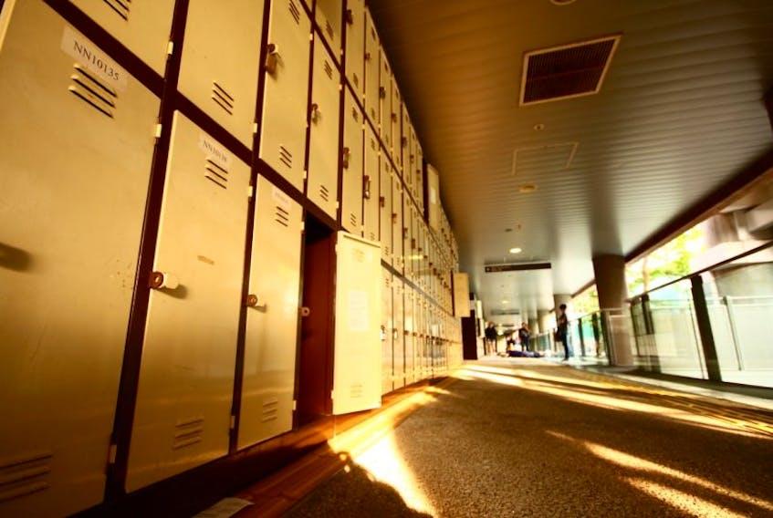School hallway with student lockers.