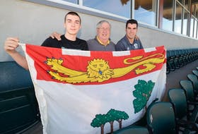 Zachary Wall will be the third generation of his family to compete at the Canada Games when this year's competition begins later this month. From left are Wall, grandfather Bill McKinnon and father Kris McKinnon.