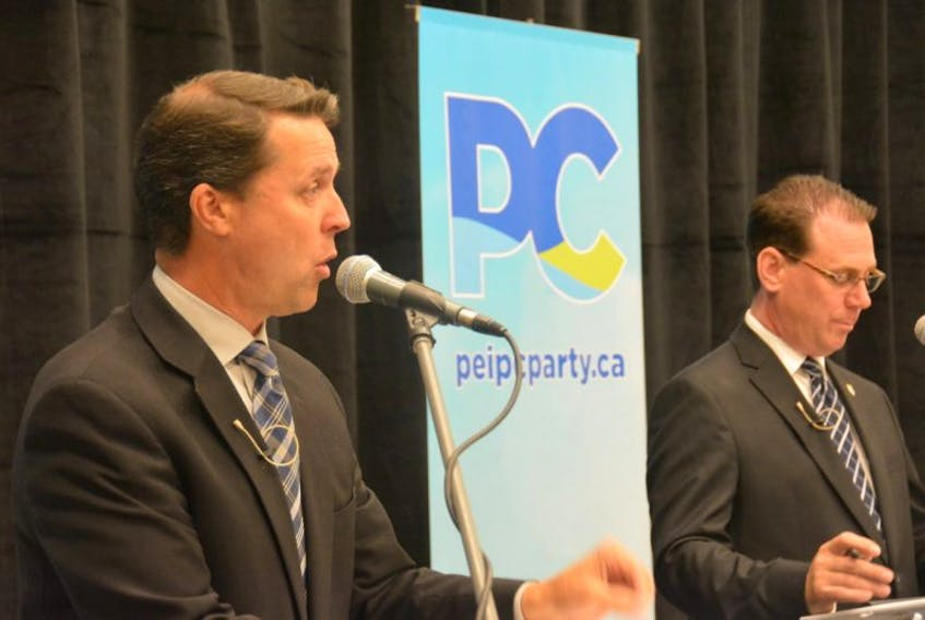 Rustico-Emerald MLA Brad Trivers, left, and Stratford-Kinlock MLA James Aylward took part in the first P.E.I. Progressive Conservative leadership forum Tuesday in Summerside.