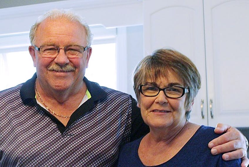 Wilbur Birt and his wife, Barb, are shown at their home in Charlottetown. Wilbur has recovered from suffering heart failure while playing golf earlier this year.