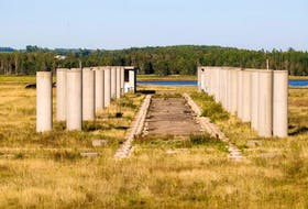 ['Pillars still stand in a part of the former Confederation Bridge fabrication yard in this Guardian file photo.']