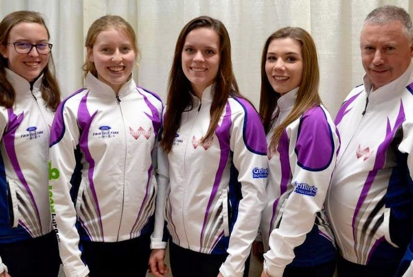 ['The Lauren Lenentine-skipped rink from the Cornwall Curling Club will represent Prince Edward Island at this week's Canadian junior curling championship in Victoria, B.C. From left are Lenentine, third Kristie Rogers, second Breanne Burgoyne, lead Rachel O'Connor and coach Pat Quilty.']