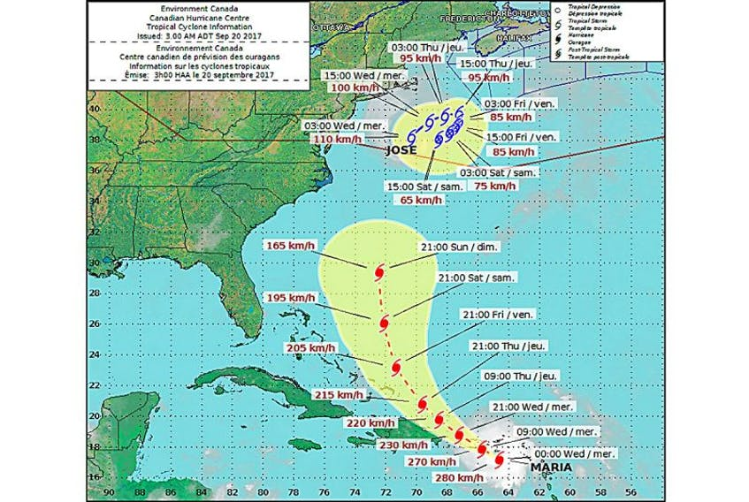 Hurricane tracking map issued by the Canadian Hurricane Centre.