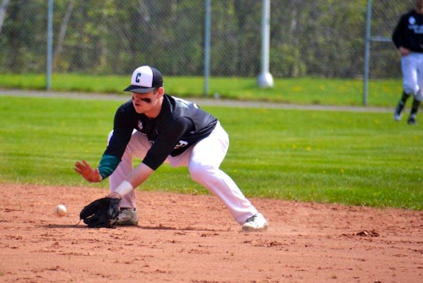 Charlottetown Gaudet's Auto Body Islanders second baseman Grant Grady stays down on a ground ball Monday at Memorial Field during New Brunswick Senior Baseball League action.