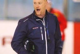 ['Gordie Dwyer is shown during a recent practice with HC Dinamo Minsk of the KHL.']