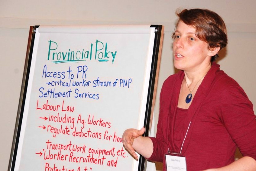 Josie Baker of Cooper Institute helped coordinate a public forum Monday in Charlottetown to explore how to advance the rights of migrant workers.
