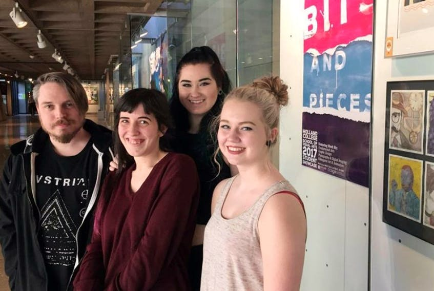 """Will Gallant, left, Allison Wolvers, Paige Murphy and Jenna MacFarlane are shown at Confederation Centre Art Gallery, where they have work on display in Holland College's School of Visual Arts exhibit, """"Bits and Pieces""""."""