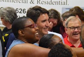 ['Prime Minister Justin Trudeau visited the Montague Curling Club in P.E.I. Thursday, June 29, 2017, for a meet and greet hosted by Cardigan MP Lawrence MacAulay.']