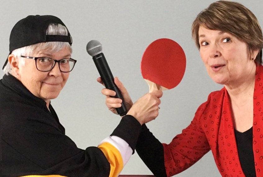 """Nancy Beck, left and Pam Campbell show their playfulness in """"Ping-Pong Sing-Song""""."""