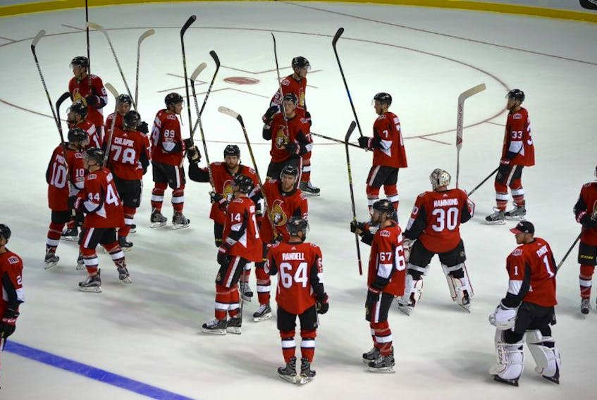 Ottawa Senators players salute P.E.I. fans at the conclusion of the Kraft Hockeyville 2017 NHL exhibition game Monday in Summerside. Dean Getson from the O'Leary Hockeyville committee, suggests it is difficult to place a dollar value on many of the benefits that comes from O'Leary's Hockeyville win.