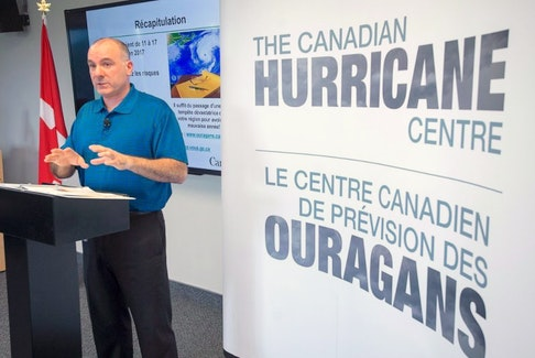 Meteorologist Bob Robichaud discusses the potential impacts of the upcoming 2017 hurricane season at the Canadian Hurricane Centre in Dartmouth, N.S. on Thursday, May 25, 2017. Forecasters are predicting a very active tropical storm season.