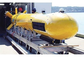 The AquaPix INSAS system, developed by Kraken Sonar Systems, was integrated into the Defence Research and Development Canada's Arctic Explorer autonomous underwater vehicle. The system was used in the Arctic operation this summer searching for the ill-fated Franklin Expedition wrecks from 1845. — Photo submitted by Kraken Sonar Systems
