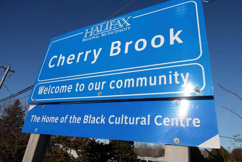 Feb. 3, 2021--Photo of the Cherry Brook municipal sign. With North Preston, Cherry Brook was given the disgusting name by a tourism app. ERIC WYNNE/Chronicle Herald