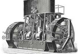 A depiction of the dynamos and engine installed at the Edison General Electric Company in New York, during 1895. (Shoepepper/Wikimedia Commons)