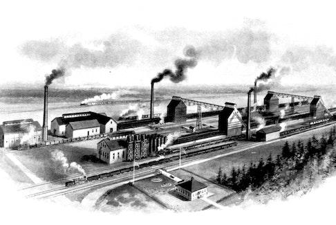 Artist rendering of the Sydney coke ovens, circa 1900.