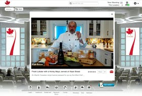 Chef Alain Bossé does a cooking demonstration during a virtual trade show in June.