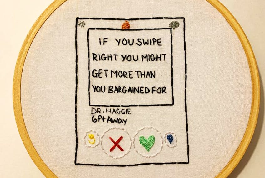 The Rooms is seeking objects and stories that will reflect Newfoundlanders and Labradorians' response to the COVID-19 pandemic, including creative responses such as the popular cross-stitches Jaimie Feener embroiders after the province's daily briefings. -VIA TWITTER