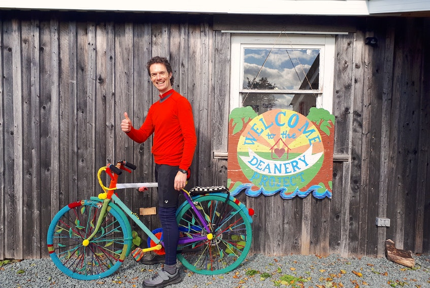 One of the stops on Adrian House's 'Pedal Power Tour' was at The Deanery Project, an 'environmental and arts learning centre' in Ship Harbour, Nova Scotia. — Submitted photo