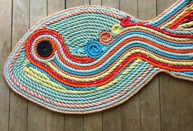 These fish mats, made of reclaimed fishing rope, are among the most popular products made by Nicole Poirier and Tanya Holt, the creators of Art Marée Haute.