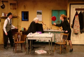 """Vince Carlin, Kathleen Sheehy and Christy MacRae-Ziss are shown in Lost & Found Theatre's 2019 production of """"Outside Mullingar."""" The cast and director of this production will reunite for Theatre Baddeck's 2020 production in June and July. CONTRIBUTED PHOTO/TOM VOGEL"""