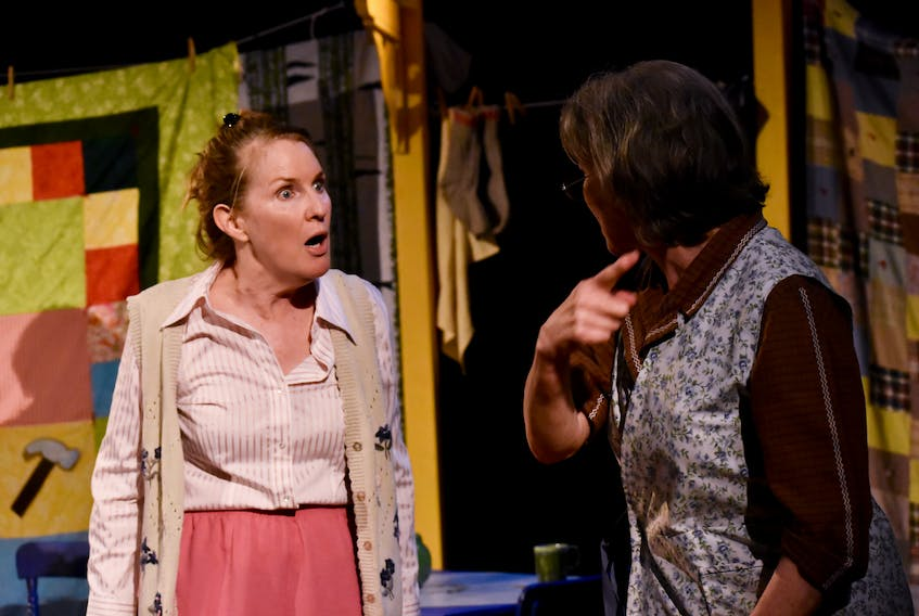 """Mauralea Austin and Logan Robins perform in a scene from, """"He'd Be Your Mother's Father's Cousin,"""" a two-time Merritt Award nominee. The play will return as part of Theatre Baddeck's 2021 season, following the postponement of this year's season. Contributed"""