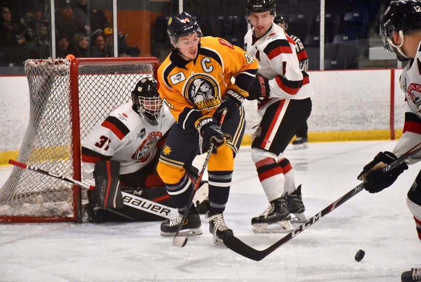 Yarmouth Mariners captain Matt Barron positions himself in front of the Pictou net in the team's last regular season game on March 7. In his last year with the team Barron broke and set three regular season Mariners franchise records for most games played, most assists and most points. TINA COMEAU PHOTO