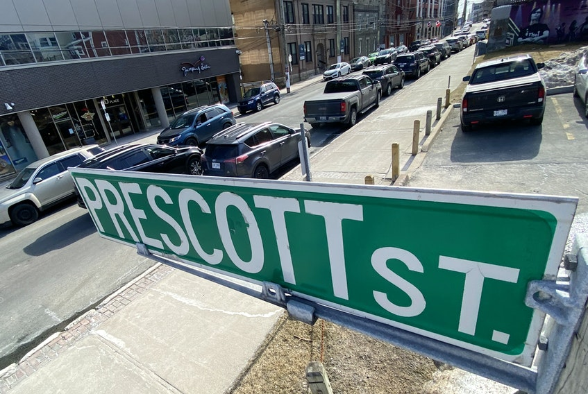 A section of Duckworth Street from Prescott to Cathedral Street may be part of a new pedestrian mall in downtown St. John's this summer.  Keith Gosse/The Telegram