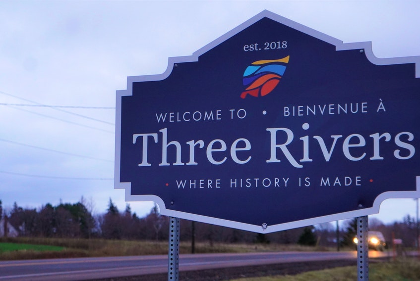 A Three Rivers sign along the Trans Canada Highway.