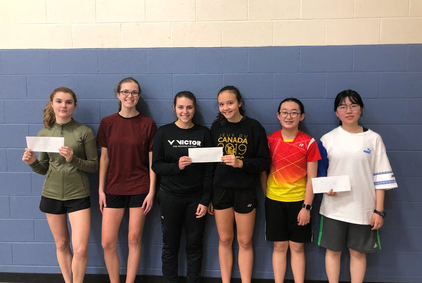 Emma Hughes, third left, and Hayden Ford, third right, teamed up to win the women's doubles championship at a recent Badminton P.E.I. senior tournament in Charlottetown. Adelle Breau, left, and Torey MacDonald, second left, finished second while Kimmy Chen, second right, and Jingxi Hou, right, were the third-place team.
