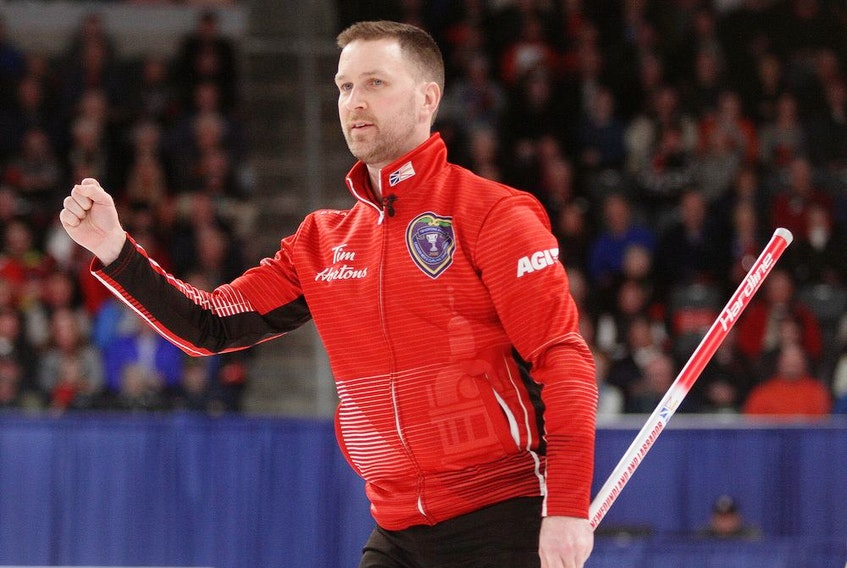 Newfoundland and Labrador skip Brad Gushue fist pumps after a shot  during a 7-3 win over Alberta in the final of the 2020 Tim Hortons Brier in Kingston on March 8, 2020. File photo by Ian MacAlpine/Postmedia Network.