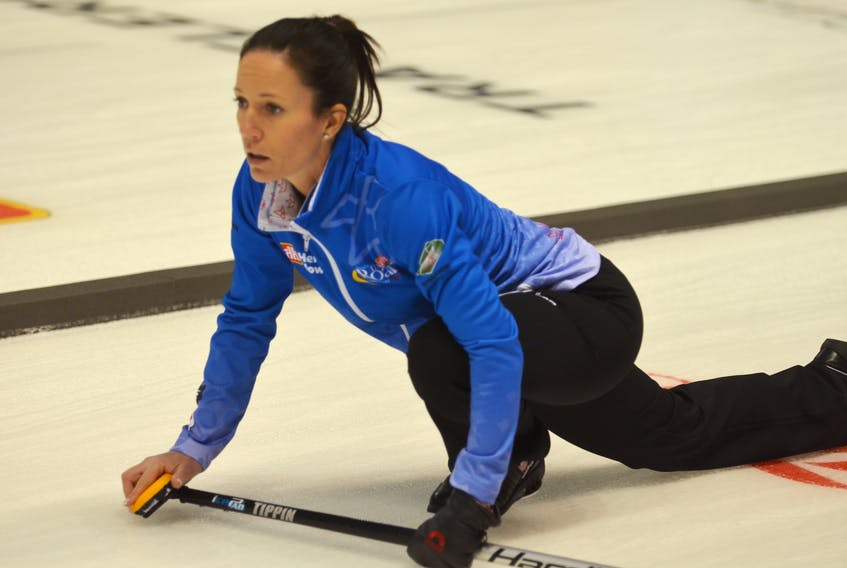 Julie Tippin intently follows a shot during the 2017 Home Hardware Road to the Roar Pre-Trials curling event in Summerside.