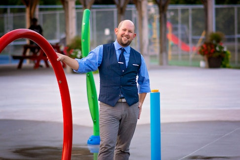 Ty Walsh at the Town of Berwick Splash pad in front of the Carol's Place Recreation building in Rainforth Park. Jess Bain Photography