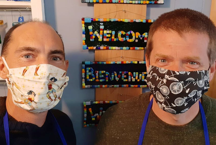 School Street Studio Glass co-owners Tim Carr, left, and Jason Tucker bought the company in 2015 and moved it to its current location, at 53 Main Street, Hantsport, in 2018. Contributed