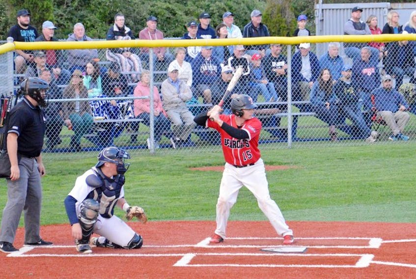 John Chapman of the Truro Bearcats waits for a pitch from Sheldon MacDonald of the Sydney Sooners during Nova Scotia Senior Baseball League semifinal action at the Susan McEachern Memorial Ball Park in Sydney on Friday. The Sooners won the game 7-5, taking the best-of-five series 3-0.