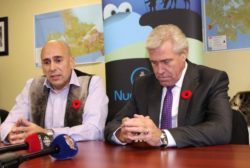 NunatuKavut president Todd Russell (left) met with provincial Liberal leader Dwight Ball earlier today, to discuss the Liberal's commitment to affirming his party's support for settling a claim should his party be elected in the Nov. 30 provincial election.