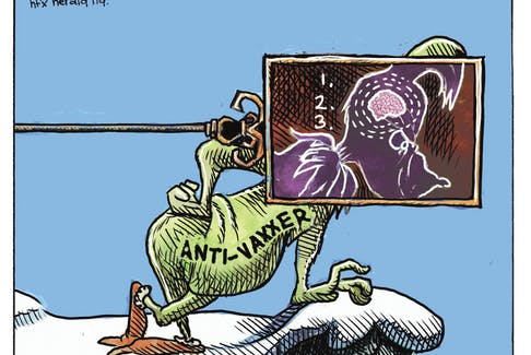 Michael de Adder cartoon for Dec. 14, 2020. Grinch, COVID-19, vaccine, anti-vaxxers