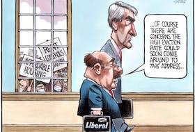 Bruce MacKinnon cartoon for Nov. 13, 2020. Stephen McNeil, rent control, Nova Scotia, affordable housing
