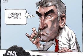 Bruce MacKinnon cartoon for Saturday, Nov. 2, 2019, showing Stephen McNeil snorting coal dust.