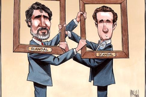 Bruce MacKinnon cartoon for March 18, 2021. Justin Trudeau, Craig Kielburger, We scandal, We charity