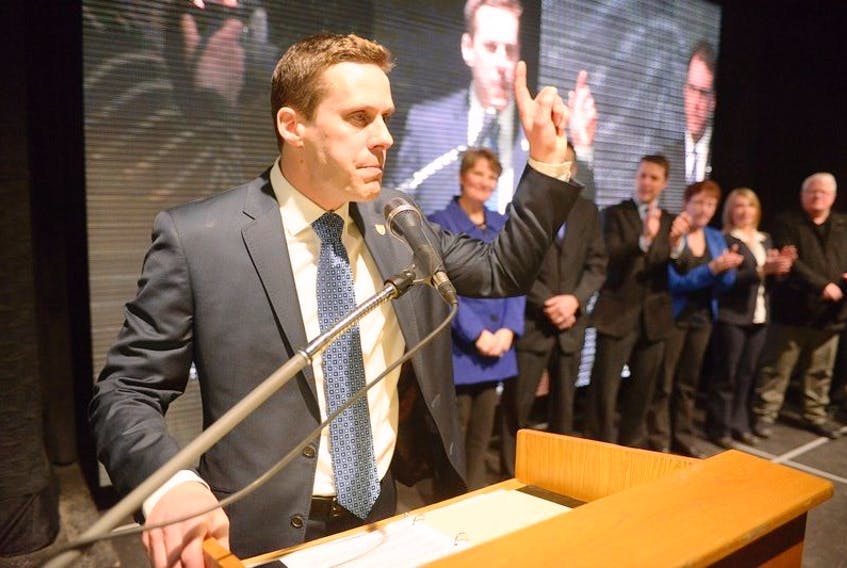Rob Lantz makes his victory speech. Behind him are all the candidates nominated so far.