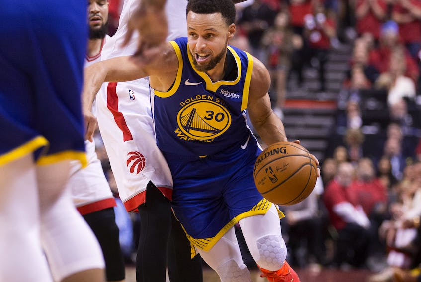Golden State Warriors guard Stephen Curry (30) in 4th quarter action as the Toronto Raptors lose to the Golden State Warriors in Game 2 to tie the series in the NBA finals in Toronto. It happened one year ago Tuesday.