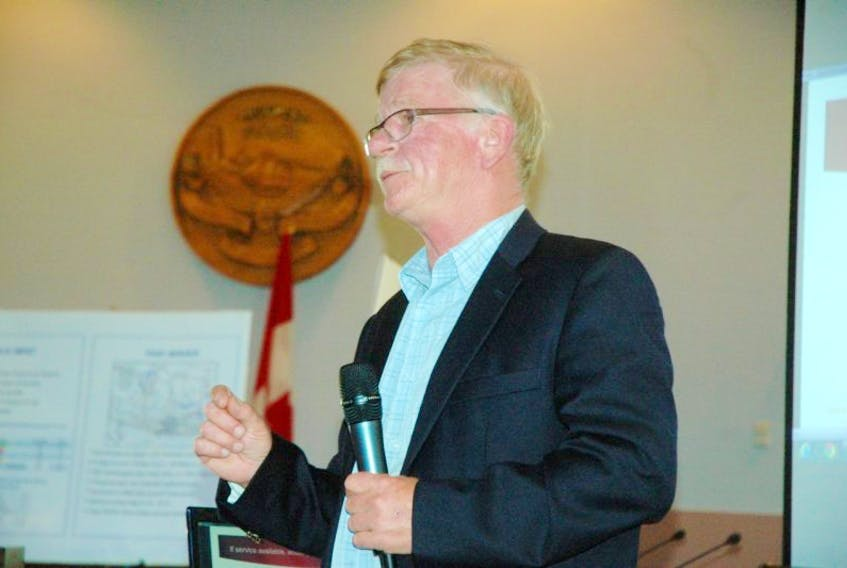 Wally Beck of Transit Consulting Network speaks at a Sept. 4 session at Yarmouth town hall.<br />ERIC BOURQUE PHOTO