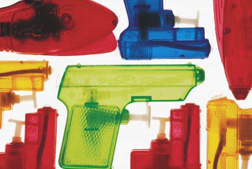 An much-more realistic toy gun than these squirters led to a police call in North Kentville Feb. 7