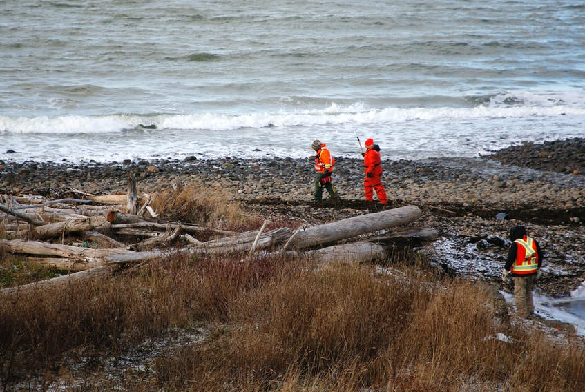 Searchers scour the shore while conducting a search for the 5 remaining crew members of the Chief William Saulis, which sank yesterday...seen near Parker's Cove, NS Wednesday December 16, 2020.  TIM KROCHAK PHOTO