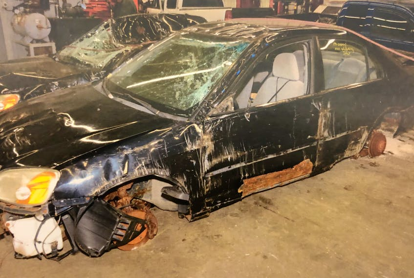 Last April, a St. John's woman reported the theft of two Honda Civics from her Thorburn Road driveway. This is the condition the cars were in when they were found at a local scrap metal recycling depot and taken to RNC headquarters for forensic examination. Samuel Caines and his wife, Melissa Dawe, have pleaded not guilty to a slew of charges related to the theft and unlawful sale of the two cars, as well as an SUV from a home in Paradise. — CONTRIBUTED PHOTO