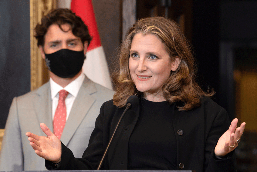 """Prime Minister Justin Trudeau and Finance Minister Chrystia Freeland. A deliberate attempt to redistribute income under the cover of the pandemic would constitute the """"new New Deal"""" Freeland once championed."""