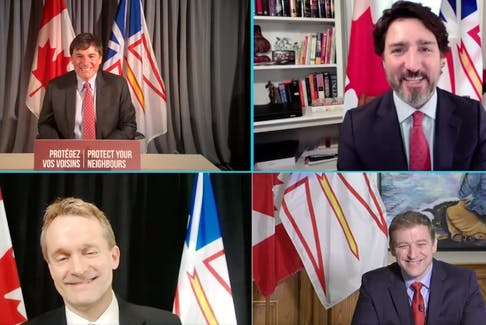 (Clockwise from top left) Federal Intergovernmental Affairs Minister Dominic LeBlanc, Prime Minister Justin Trudeau, Newfoundland and Labrador Premier Andrew Furey, and federal Natural Resources Minister Seamus O'Regan announce an update on rate mitigation negotiations between the two governments Thursday. SCREEN GRAB
