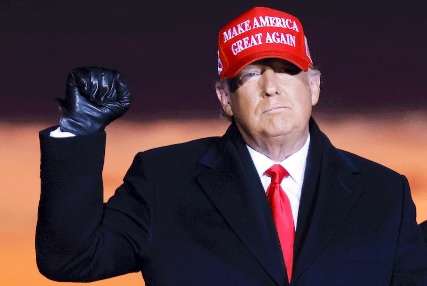 """Maybe lightning will strike twice."" U.S. President Donald Trump at Cherry Capital Airport in Traverse City, Michigan, November 2, 2020."