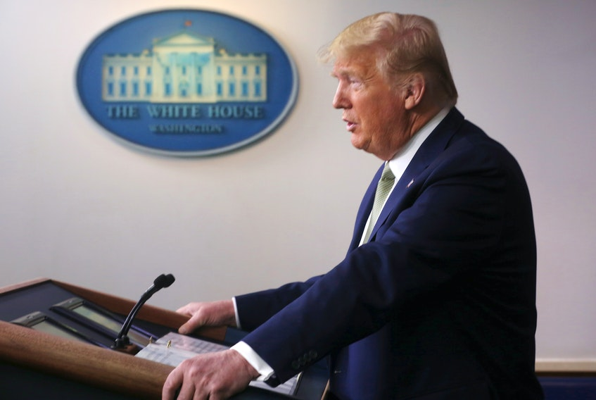 U.S. President Donald Trump addresses the daily COVID-19 briefing at the White House in Washington. On Wednesday he proposed giving taxpayers cash payments that would total US$500 billion and $50 billion worth of loans for U.S. airlines. Jonathan Ernst - Reuters