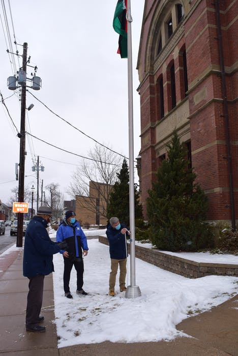 The Pan-African flag was raised outside of town hall on Friday, Jan. 19, 2021. - Chelsey Gould